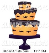 Three Tiered Halloween Cake with Bats and Black Frosting
