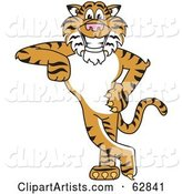 Tiger Character School Mascot Leaning