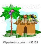 Toucan on a Tropical Hut by a Palm Tree over Blue