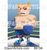 Tough Chubby Male Boxer in the Corner of a Ring