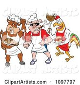 Tough Cow Pig and Rooster Chefs Holding Poultry Pork and Beef