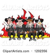 Tough Cow Rooster and Pig Lawmen Walking in Front of Flames with Bbq Tools