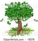 Tree Growing an Abundant Amount of Dollar Bills, Symbolising Environmental Expenses, Trust Funds, Riches, Etc