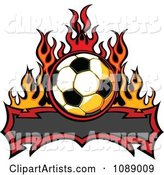 Tribal Banner with a Soccer Ball and Flames