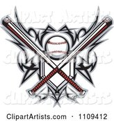 Tribal Baseball Home Plate with Crossed Bats and Ball Featuring the Sweet Spot