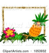 Tropical Flower and Pineapple Frame