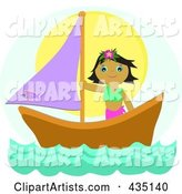 Tropical Girl on a Sail Boat over Blue