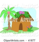 Tropical Hut Under a Palm Tree