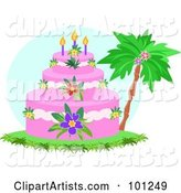 Tropical Tiered Birthday Cake with Hibiscus Flowers and Candles near a Palm Tree