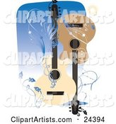 Two Acoustic Guitars Facing Different Directions over a Blue Background with Bursts, Vines and Scrolls