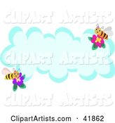 Two Bees with Flowers on a Blank Cloud with Text Space