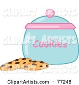 Two Chocolate Chip Cookies by a Jar