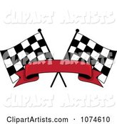 Two Crossed Checkered Racing Flags and a Red Banner
