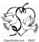 Two Flying Doves with a Ribbon over a Heart