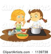 Two Girls Cooking a Meal Together