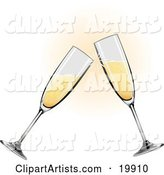 Two Glass Champagne Glasses Toasting on