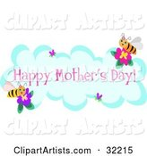 Two Happy Bees on Flowers Around a Cloud, with Hearts and Happy Mother's Day Text