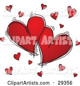Two Large Red Hearts Outlined in Black Sketches, Surrounded by Little Hearts, on a White Background