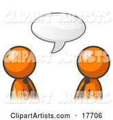 Two Orange Businessmen Having a Conversation with a Text Bubble