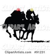 Two Silhouetted Derby Racers