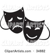 Two Theater Masks with Sad and Happy Expressions