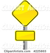 Two Yellow Road Signs on a Pole