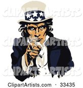Uncle Sam Dressed in Blue and White, Pointing Outwards on a US Navy Recruiting Poster
