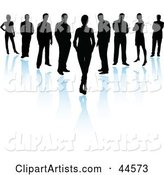 V Formation of Silhouetted Business Men and Women with Blue Reflections