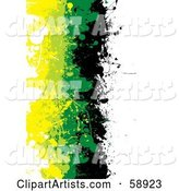 Vertical Background of Black, Green and Yellow Grunge Splatters Against White