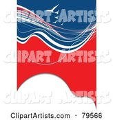Vertical Red, White and Blue Swoosh and Wave Background with White Gulls