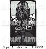 Viking Thor and Mjolnir Weapon Woodcut