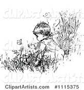 Vintage Black and White Baby in a Garden with Butterflies