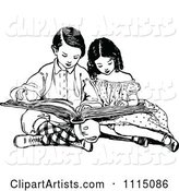 Vintage Black and White Brother and Sister Reading a Book