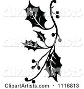 Vintage Black and White Christmas Holly Sprig Design Element 1