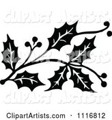 Vintage Black and White Christmas Holly Sprig Design Element 2