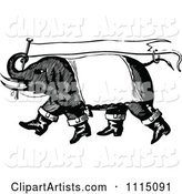 Vintage Black and White Circus Elephant Carrying a Banner Flag