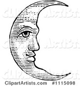 Vintage Black and White Crescent Moon Face