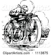 Vintage Black and White Man Racing a Motorcycle