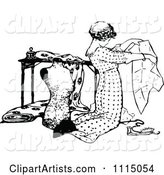 Vintage Black and White Seamstress Kneeling and Working