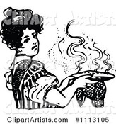 Vintage Black and White Woman Holding a Hot Pie