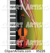 Violin by a Piano on Green with Colorful Waves