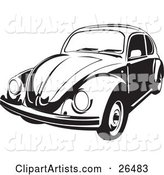 Volkswagen Beetle Car in Black and White