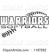 Warrior Softball Text over Stitches