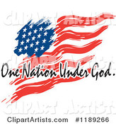Wavy Painted American Flag with One Nation Under God Text