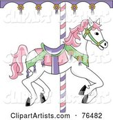 White Carousel Horse with Pink Hair