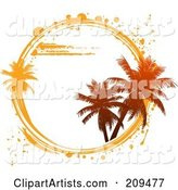 White Circle with Palm Trees and White and Orange Grunge Marks