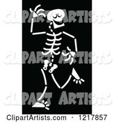 White Dancing Skeleton on Black