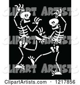 White Dancing Skeletons on Black
