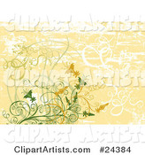 White, Green and Orange Vines, Plants and Flowers over a Faded Grunge Orange and White Background