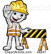 White Smartoon Character Construction Worker